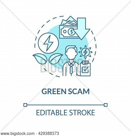 Green Scam Blue Concept Icon. Renewable Energy. Money Losing Risks. Secure Financial Investment In G