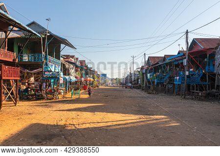 Kampong Phluk, Cambodia - June 12, 2019: Floating Village On Tonle Sap Lake Near Siem Reap, Cambodia