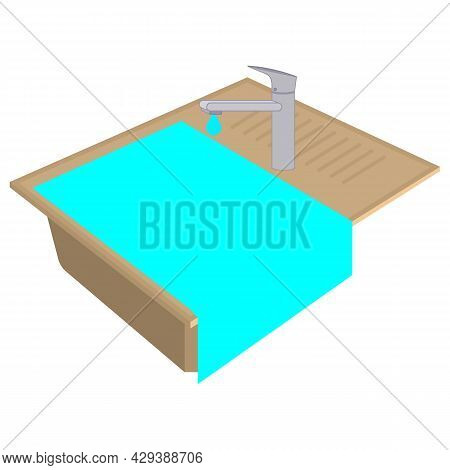 Kitchen Sink Is Clogged. Water Flows From Top To Bottom. Dripping Water From A Faucet. Isometric Vec