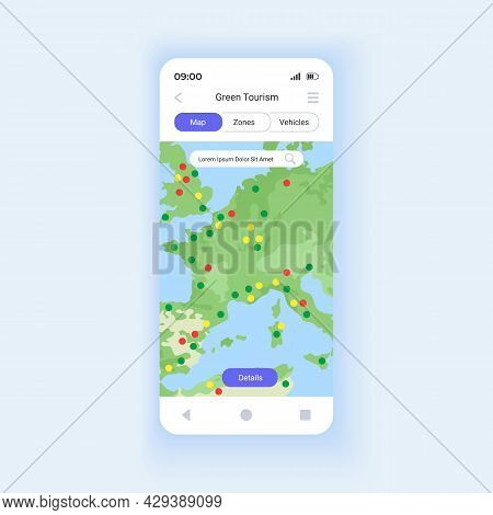 Green Tourism Smartphone Interface Vector Template. Mobile App Page Design Layout. Geo-data Based Ma