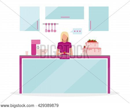 Blond Woman Broadcasting Cooking Show Semi Flat Color Vector Character. Full Body Person On White. B