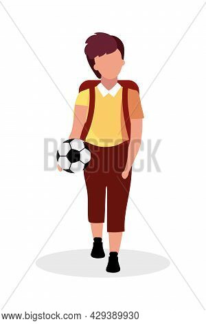 Schoolboy With Soccer Ball Semi Flat Color Vector Character. Full Body Person On White. Little Boy W