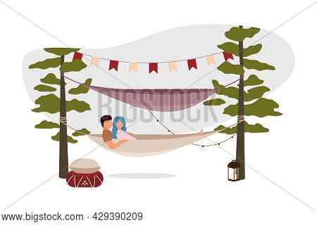 Romantic Weekend Outdoor 2d Vector Isolated Illustration. Couple Relaxing In Camping Hammock Flat Ch