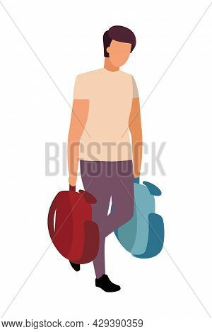 Man Carries Backpacks Semi Flat Color Vector Character. Walking Figure. Full Body Person On White. P