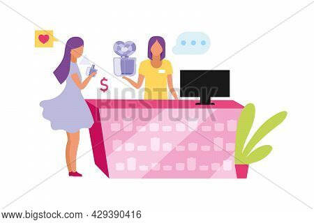 Female Sales Assistant Offering Perfume Semi Flat Color Vector Characters. Full Body People On White