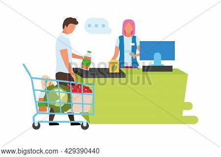 Supermarket Checkout Semi Flat Color Vector Characters. Full Body People On White. Woman Dealing Wit