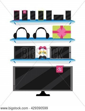 Electronics Store Semi Flat Color Vector Object. Full Sized Item On White. Shop Window. Buying Elect