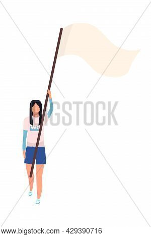 Young Woman With Flag On Stick Semi Flat Color Vector Character. Full Body Person On White. Movement