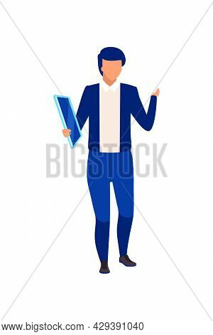 Male Television Presenter With Tablet Semi Flat Color Vector Character. Full Body Person On White. H
