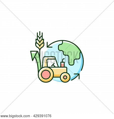 Environmental Sustainability In Agriculture Rgb Color Icon. Healthy Ecosystem And Soil. Avoid Negati