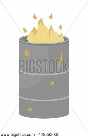 Fire In Barrel For Homeless People Semi Flat Color Vector Object. Full Sized Item On White. Keeping