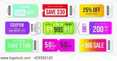 Set Of Discount Coupons And Gift Vouchers. Discount Voucher, Gift Coupon Design. Colorful Coupon Tem