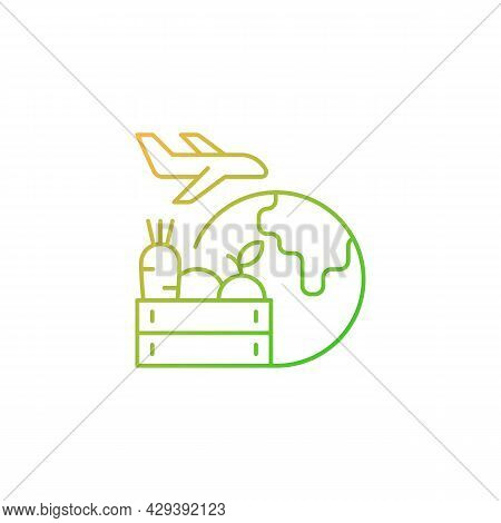 Agricultural Products Export Gradient Linear Vector Icon. Agricultural Goods Delivering. Global Mark