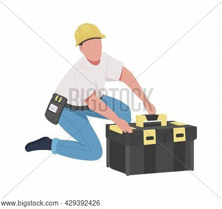 Maintenance Technician Semi Flat Color Vector Character. Skilled Worker. Full Body Person On White.