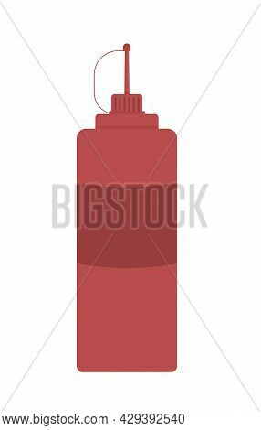 Ketchup Bottle Semi Flat Color Vector Object. Tomato Pizza Sauce. Full Sized Item On White. Ketchup