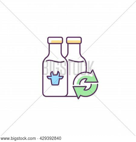 Refillable Milk Bottles Rgb Color Icon. Glass Bottle For Lactose Drink. Eco Friendly Package. Grocer