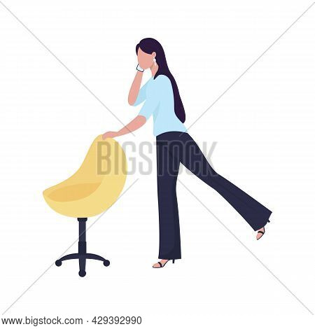Female Worker Warming Up With Office Chair Semi Flat Color Vector Character. Full Body Person On Whi
