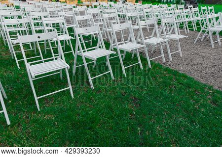 Rows Of White Chairs Photography Outdoor Space Preparing For Performance, No People