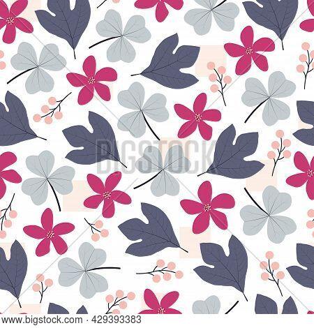 Artistic Trendy Seamless Floral Ditsy Repeat Pattern Design. Modern Elegant Repeating Blooming Flowe
