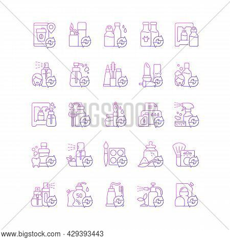 Refill Options Gradient Linear Vector Icons Set. Eco Friendly Package. Reusable Products To Reduce C
