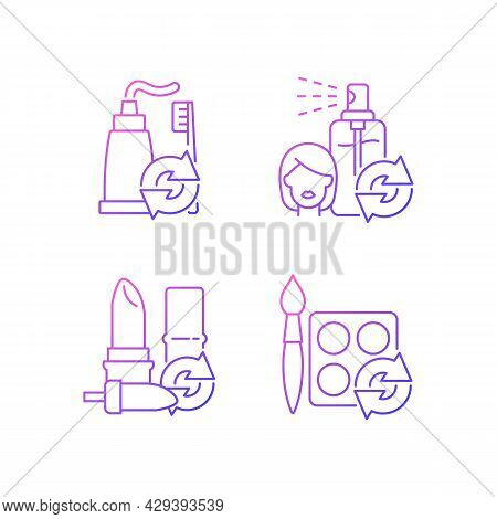 Refill And Reuse Gradient Linear Vector Icons Set. Toothpaste And Brush. Hair Sprayer. Lipstick Cont