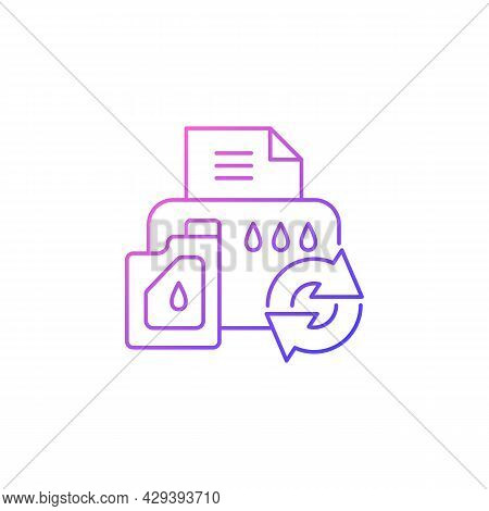Printer Cartridge Refill Gradient Linear Vector Icon. Reusable Ink Container For Office Machine. Eco