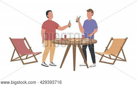 Male Friends Exchanging News Semi Flat Color Vector Characters. Full Body People On White. Neighbour