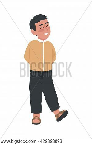 Kid Smiling Broadly Semi Flat Color Vector Character. Standing Figure. Full Body Person On White. Gr