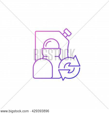 Roll On Deodorant Refill Gradient Linear Vector Icon. Cosmetic For Hygiene. Eco Friendly Package. Re
