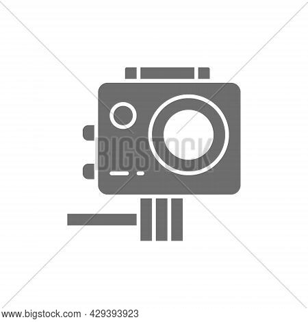 Action Camera, Extreme Video Cam Grey Icon.