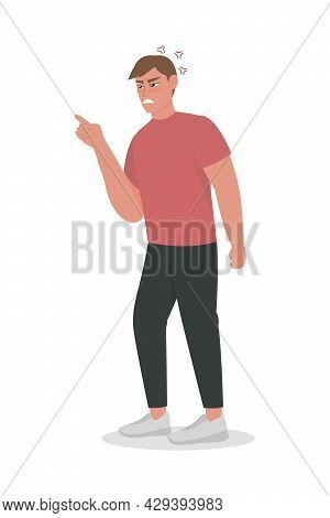 Guy Experiences Uncontrolled Anger Semi Flat Color Vector Character. Full Body Person On White. Aggr