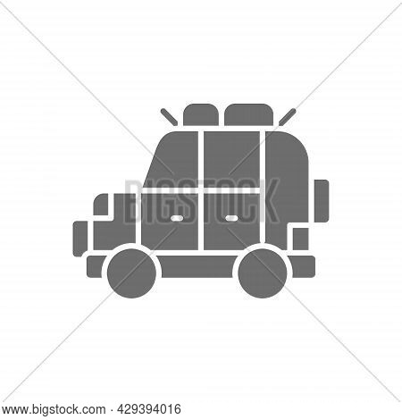 Off Road Automobile, Suv, Car For Travel Grey Icon.