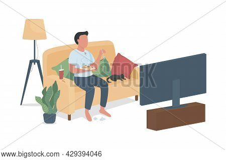 Untidy Guy Watching Television Semi Flat Color Vector Character. Full Body Person On White. Watch Tv