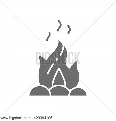 Campfire, Fire, Bonfire Grey Icon. Isolated On White Background