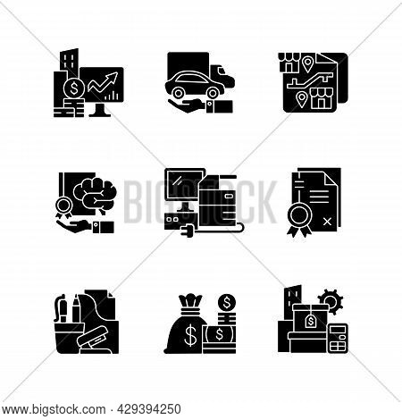 Office Supplies And Technical Equipment Black Glyph Icons Set On White Space. Franchising. Corporate