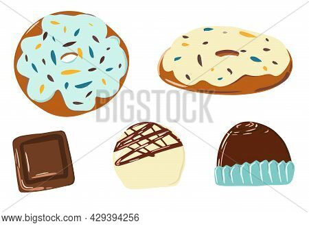 A Collection Of Chocolates, A Chocolate Bar, Isolated Pieces, Milk And White Chocolate, Donuts In Ic