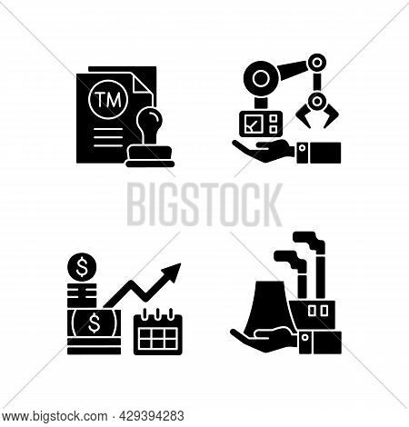 Long Term Business Investments Black Glyph Icons Set On White Space. Machinery Owning And Plants Own