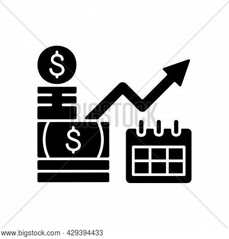 Long Term Investment Black Glyph Icon. Financial Planning And Goals Achievement. Capital Stock. Proc