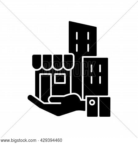Building Ownership Black Glyph Icon. Real Estate Business. Private Property. Company Assets. Hand Ho