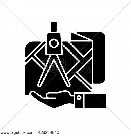 Land Owning Black Glyph Icon. Real Estate Ownership. Investment Asset. Titles Rights. Square And Com