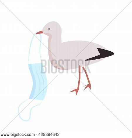Seagull Carries Coronavirus Face Mask Semi Flat Color Vector Character. Full Body Animal On White. H