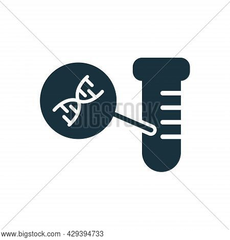 Dna Molecule In Test Tube Silhouette Icon. Scientist Or Laboratory Test Tube With Dna Molecule. Scie