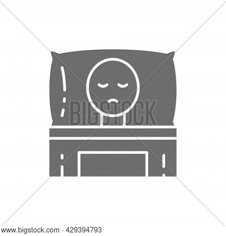 Cancer Patient In Bed, Oncology Grey Icon.