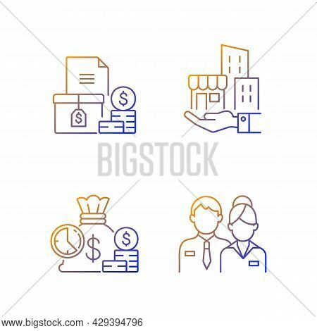 Building Ownership Gradient Linear Vector Icons Set. Account Receivable. Business Investment. Compan