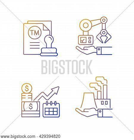 Long Term Business Investments Gradient Linear Vector Icons Set. Machinery Owning And Plants Ownersh