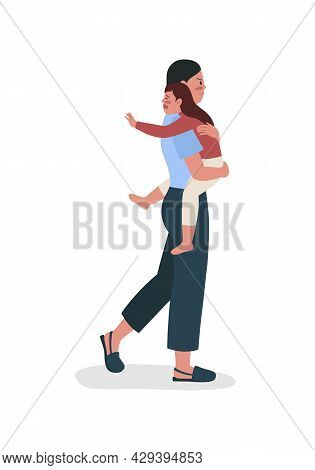 Woman With Daughter Leaves Husband Semi Flat Color Vector Characters. Full Body People On White. Chi