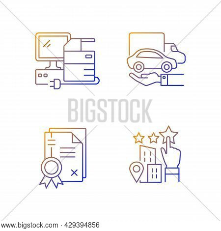 Company Image Gradient Linear Vector Icons Set. Goodwill. Technical Equipment And Owned Vehicles. Co