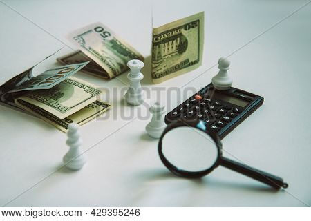 Magnifier, Calculator, Paper Money And White Chess Isolated On Light Background In Vintage Retro Sty