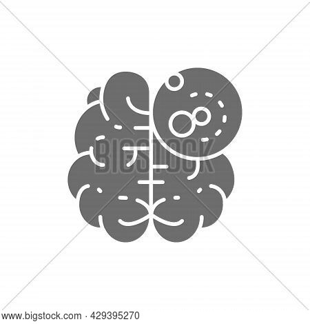 Brain Cancer, Malignant Tumor, Oncology Grey Icon.