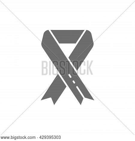Breast Cancer Ribbon, Malignant Tumor, Oncology, Volunteering Grey Icon.